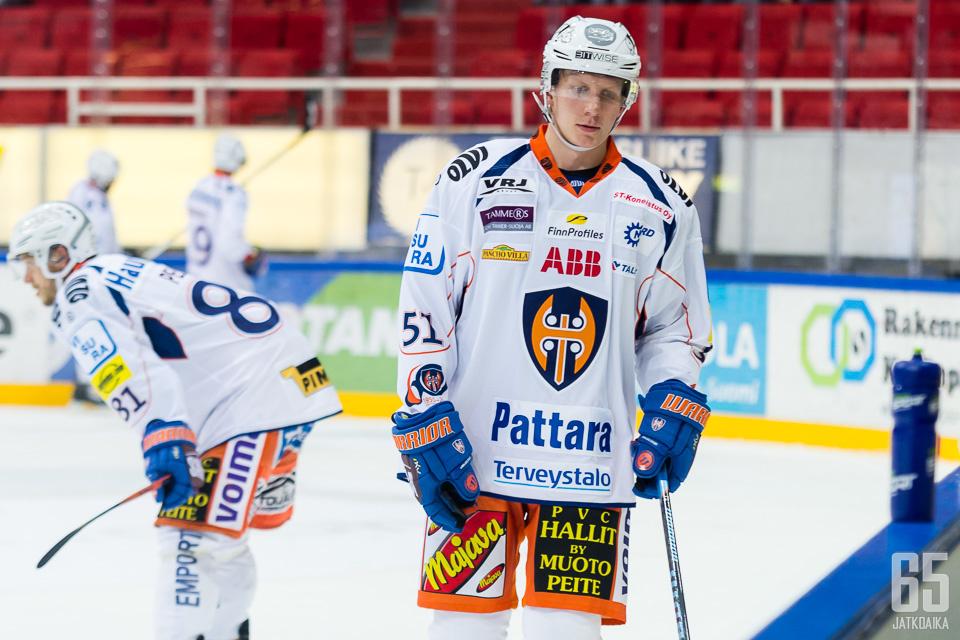 Heikkilä on pelannut Tapparassa 13 ottelua.