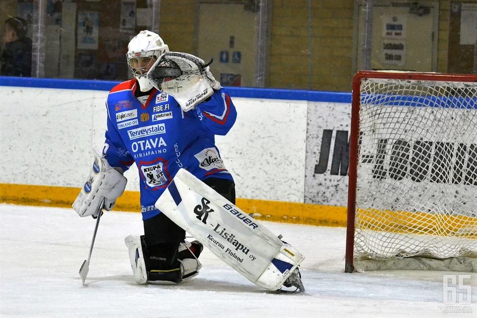 Samuli Tervo torjui voittoisassa ottelussa 22 kertaa. Arkistokuva.