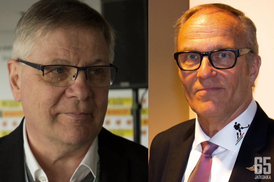 Turnauksen molemmat suomalaisvalmentaja ovat kovan paineen alla. Kuvassa Kari Savolainen (vas.) ja Jarmo Tolvanen.