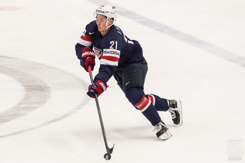 Detroit Red Wingsissä edukseen esiintynyt Dylan Larkin kuuluu Yhdysvaltain joukkueen ykkösnimiin.