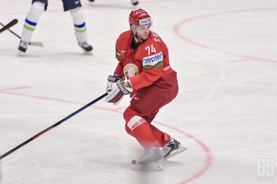 Valko-Venäjän Sergei Kostitsin oli tiistaina pelipäällä.