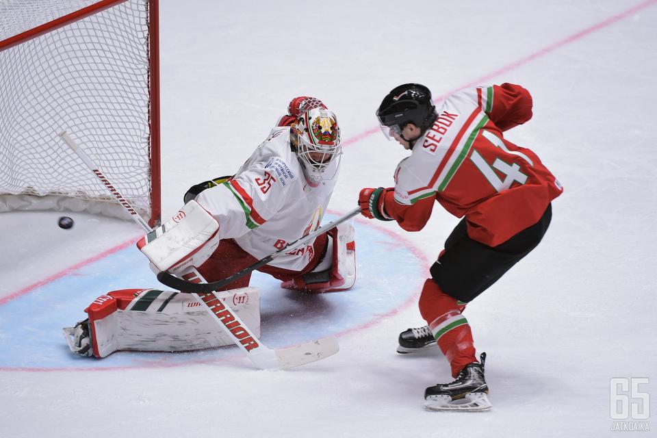 Balazs Sebokin osuma Valko-Venäjän verkkoon jäi historialliseksi voittomaaliksi.