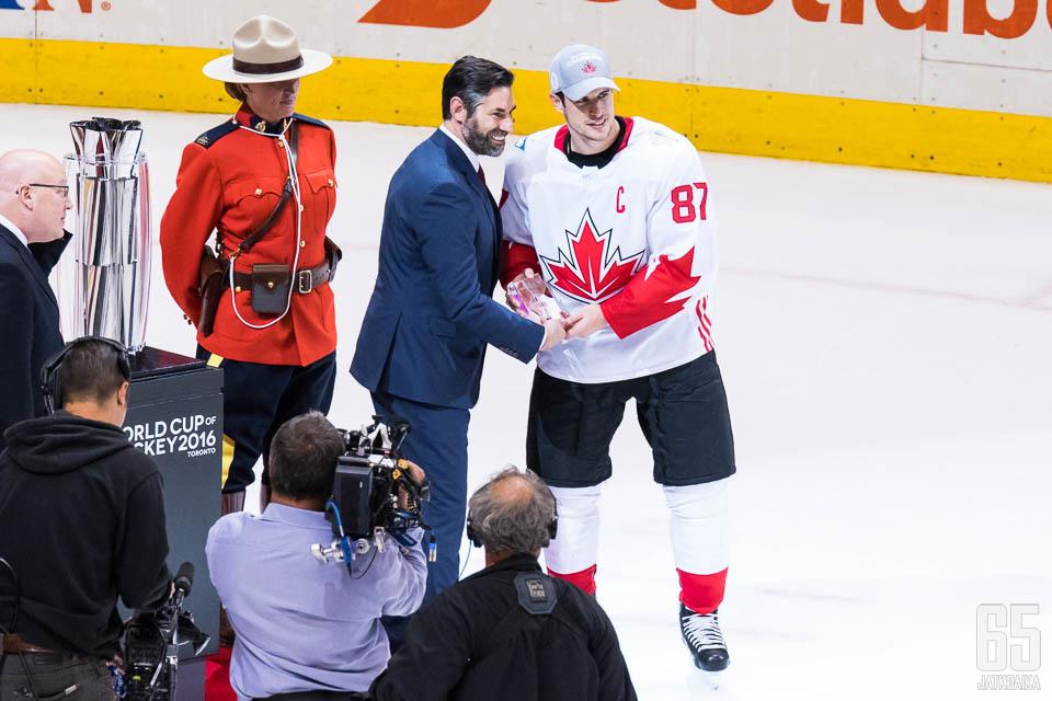 Crosby valittiin ansaitusti turnauksen arvokkaimmaksi pelaajaksi.