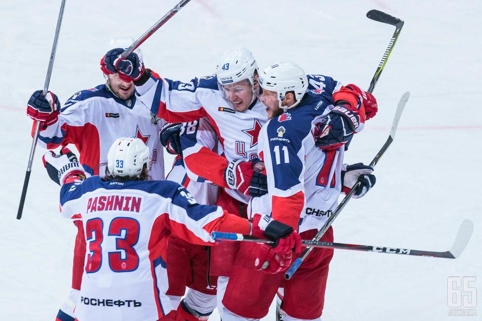 TsSKA sai tuulettaa voittoa ensimmäisessä konferenssifinaalissa.