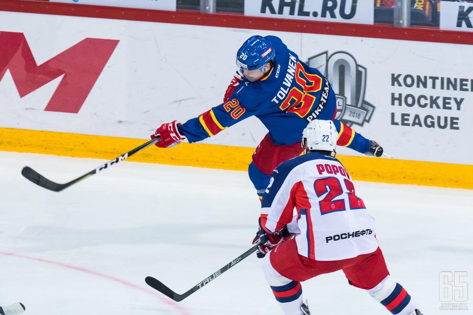 Eeli Tolvanen aloitti KHL-kauden ryminällä, mutta viime aikoina on ollut maalien suhteen hiljaisempaa.