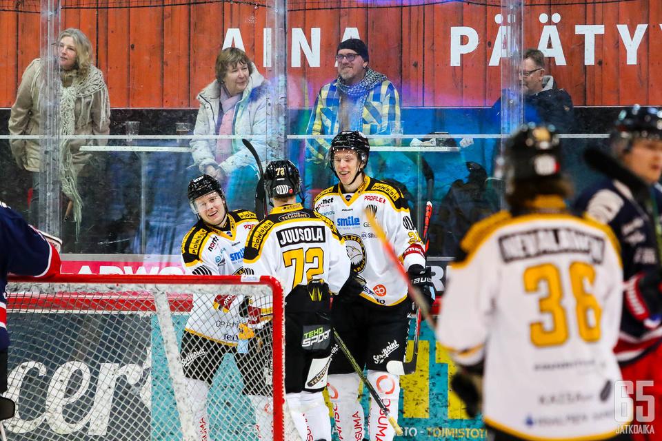 Kristian Afanasjev tulee paikkaamaan loukkaantunuttaJere-Matias Alasta (kolmas vasemmalta) loppukaudeksi.